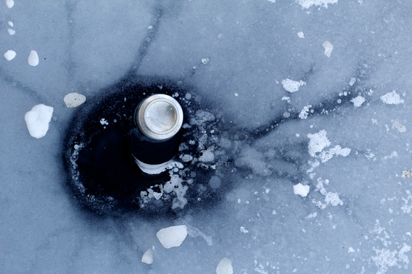 Beer Can in the ice, Pointe-des-Cascades, Quebec